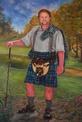 Scottish Golfer Poster by Phyllis Barrett
