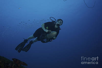 Scuba Diver Uses A Diver Propulsion Poster by Terry Moore
