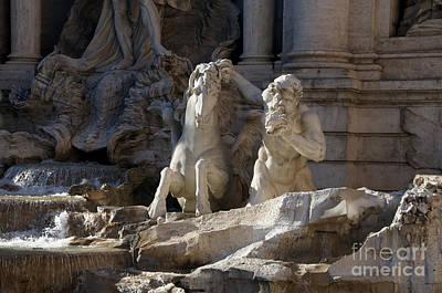 Sculptures On Trevi Fountain. Rome Poster by Bernard Jaubert