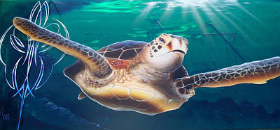 Sea Turtle Poster by Mike Royal