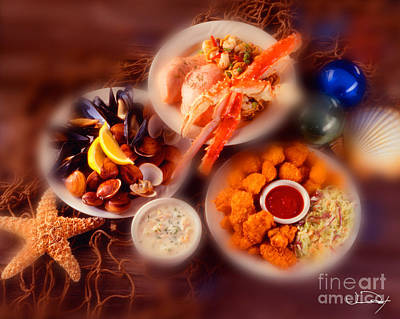 Seafood Dishes Poster by Vance Fox