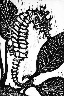 Seahorse Block Print Poster by Ellen Miffitt