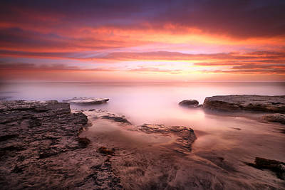 Seaside Reef Sunset 4 Poster by Larry Marshall