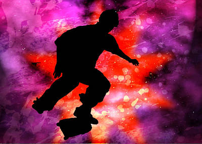 Skateboarder In Cosmic Clouds Poster by Elaine Plesser