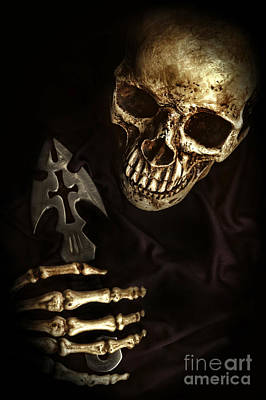 Skeleton Holding Knife Poster by HD Connelly