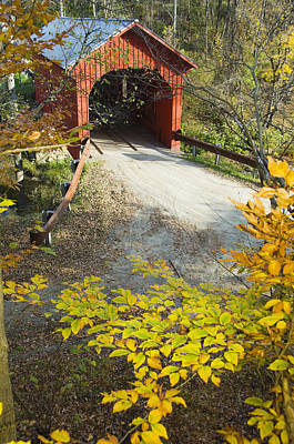 Slaughter House Bridge And Fall Colors Poster by James Forte