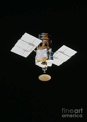 Smm Satellite In Space After Repair Poster by NASA / Science Source