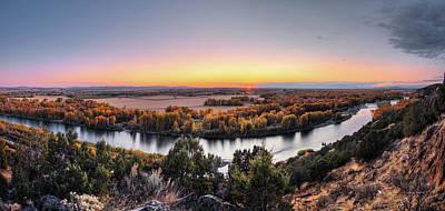 Snake River Panoramic Sunset Poster by Leland D Howard