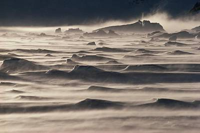 Snow Drift Over Winter Sea Ice Poster by Antarctica