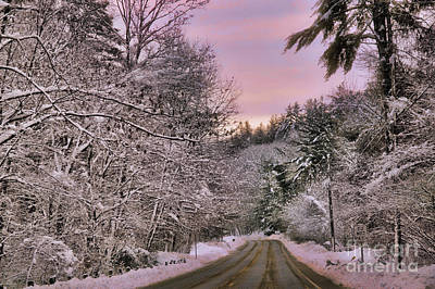 snowy sunrise in Granville MA Poster by HD Connelly