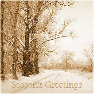Soft Sepia Season's Greetings Poster by Carol Groenen