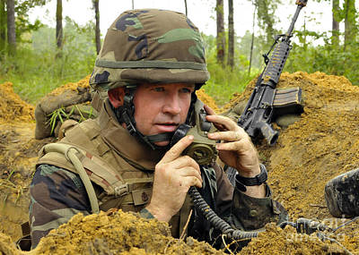 Soldier Using A Ta-1 Sound Powered Poster by Stocktrek Images