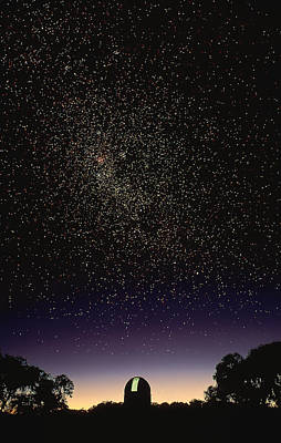 Southern Cross Above Anglo-australian Telescope Poster by David Nunuk
