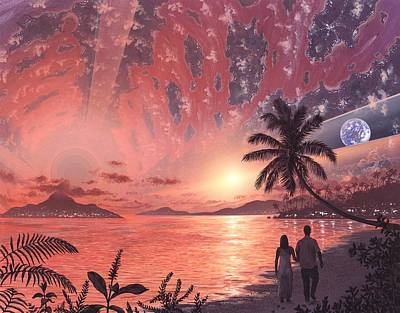 Space Colony Holiday Islands, Artwork Poster by Richard Bizley