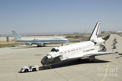 Space Shuttle Atlantis Is Towed Poster by Stocktrek Images