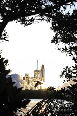 Space Shuttle Atlantis Liftoff Poster by Stocktrek Images