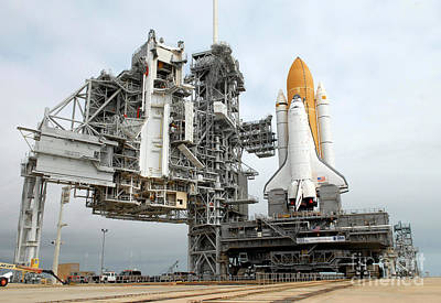 Space Shuttle Atlantis Sits On Launch Poster by Stocktrek Images