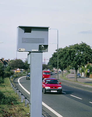 Speed Camera By Side Of Dual Carriageway Poster by David Parker