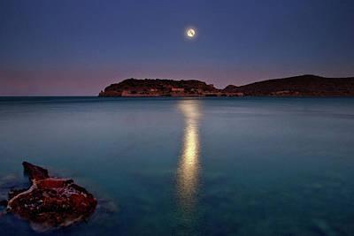 Spinalonga Full Moon Poster by Christos Tsoumplekas