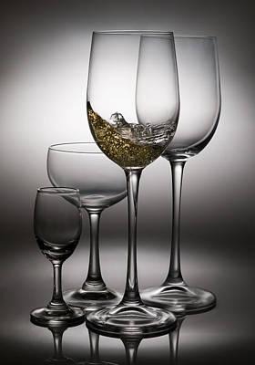 Splashing Wine In Wine Glasses Poster by Setsiri Silapasuwanchai