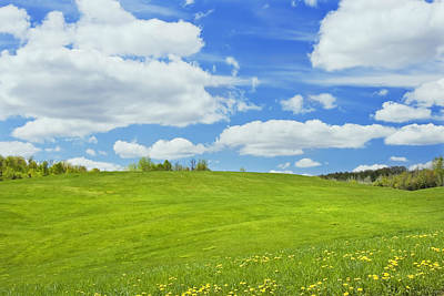 Spring Farm Landscape With Blue Sky In Maine Poster by Keith Webber Jr