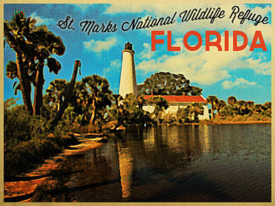 St. Marks Lighthouse Florida Poster by Flo Karp