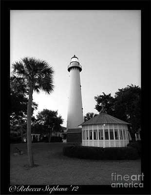 St. Simon's Lighthouse Noir Poster by Rebecca  Stephens