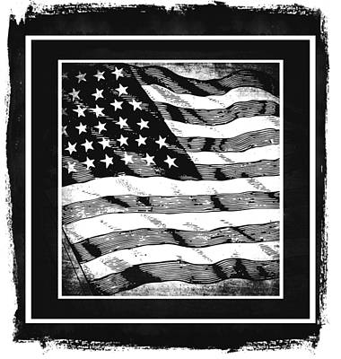 Star Spangled Banner Bw Poster by Angelina Vick