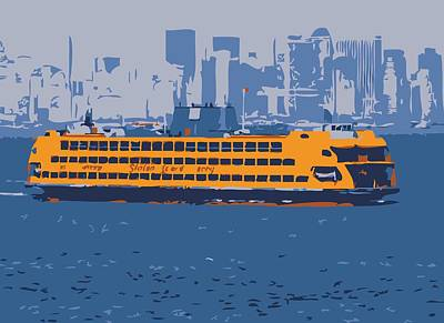 Staten Island Ferry Color 6 Poster by Scott Kelley