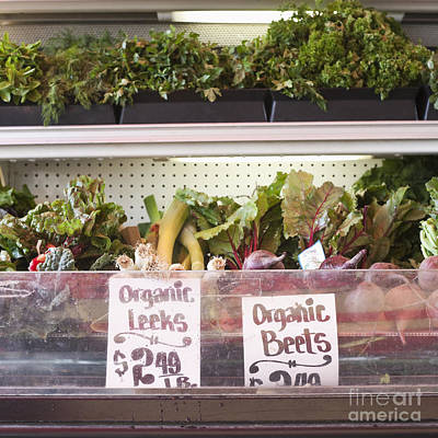 Store Shelf With Leeks And Beets Poster by Jetta Productions, Inc