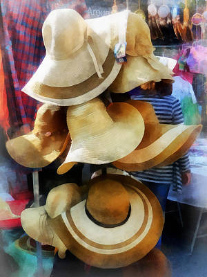Straw Hats Poster by Susan Savad