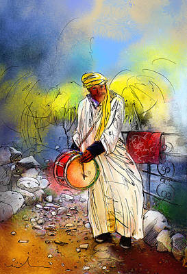 Street Musician In Setti Fadma Poster by Miki De Goodaboom