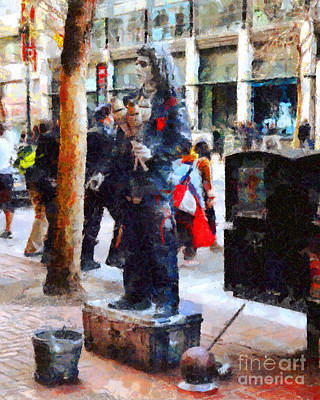 Street Performer In Downtown San Francisco . 7d4246 Poster by Wingsdomain Art and Photography