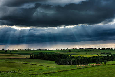 Sun Rays And  Countryside Poster by Matt Dobson