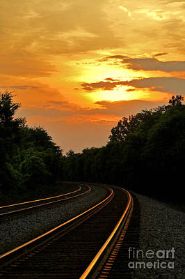 Sun Reflecting On Tracks Poster by Benanne Stiens