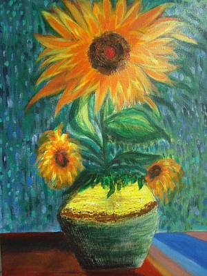 Sunflower In A Vase Poster by Prasenjit Dhar