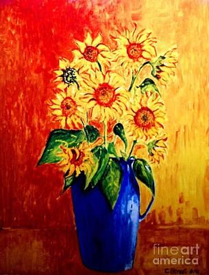 Sunflowers In Blue Vase Poster by Caroline Street
