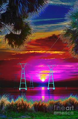 Sunrise Psychedelic Poster by Lynda Dawson-Youngclaus