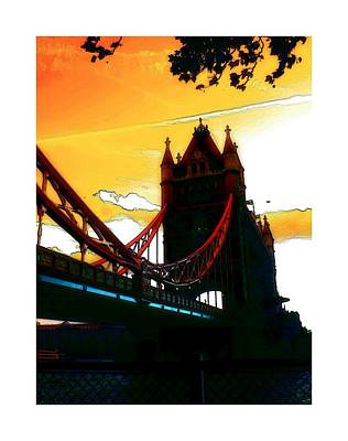 Sunset At Tower Brigde Poster by Stefan Kuhn