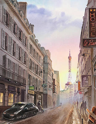 Sunset In Paris Poster by Irina Sztukowski