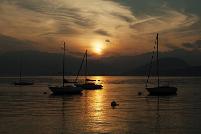 Sunset Lake Maggiore Poster by Joana Kruse