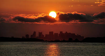 Sunset Over Boston Poster by Joanne Brown