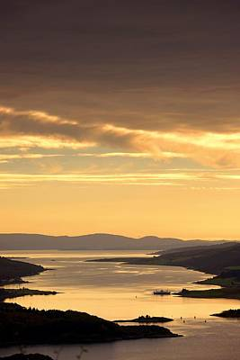 Sunset Over Water, Argyll And Bute Poster by John Short