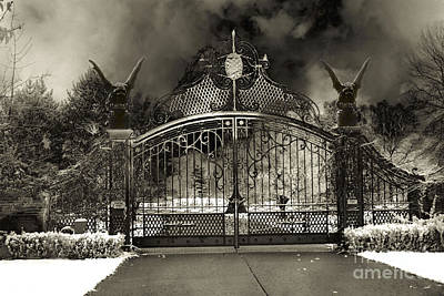 Surreal Gothic Gate And Gargoyles Stormy Haunted Sepia Nightscape Poster by Kathy Fornal