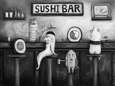 Sushi Bar Bw Version Poster by Leah Saulnier The Painting Maniac