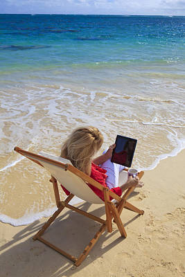 Tablet On Beach Poster by Tomas del Amo