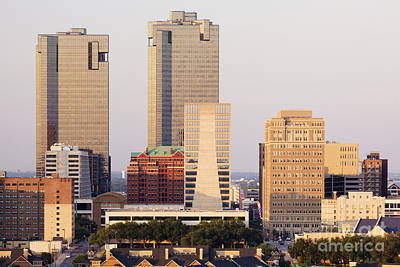 Tall Buildings In Fort Worth At Dusk Poster by Jeremy Woodhouse