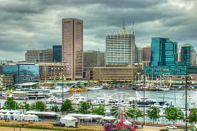 Tall Ships In The Inner Harbor Poster by Mark Dodd