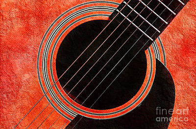 Tangerine Guitar Poster by Andee Design