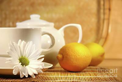 Tea And Lemon Poster by Sandra Cunningham